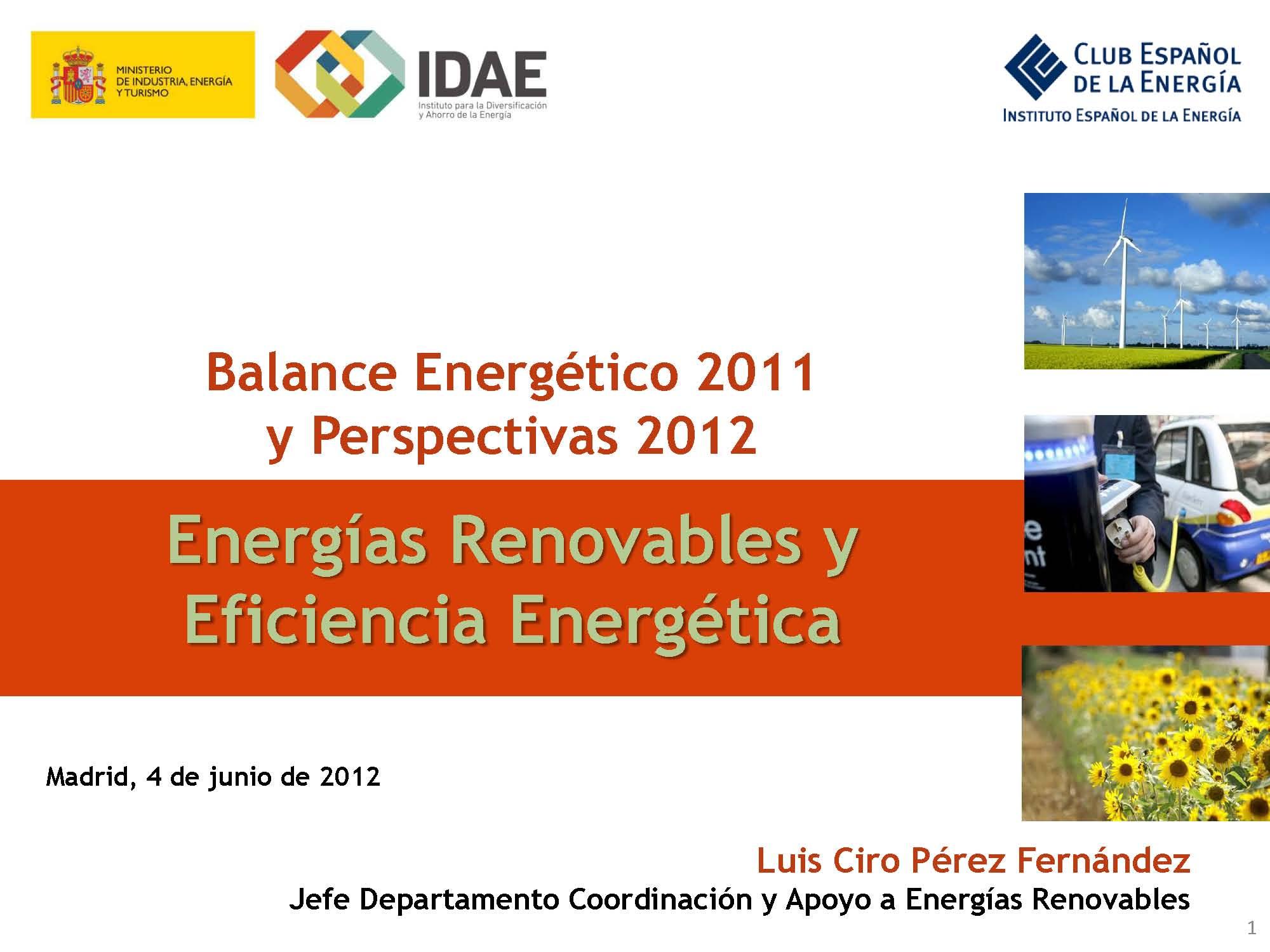 Documento de Balance Energético 2011 y Perspectivas 2012