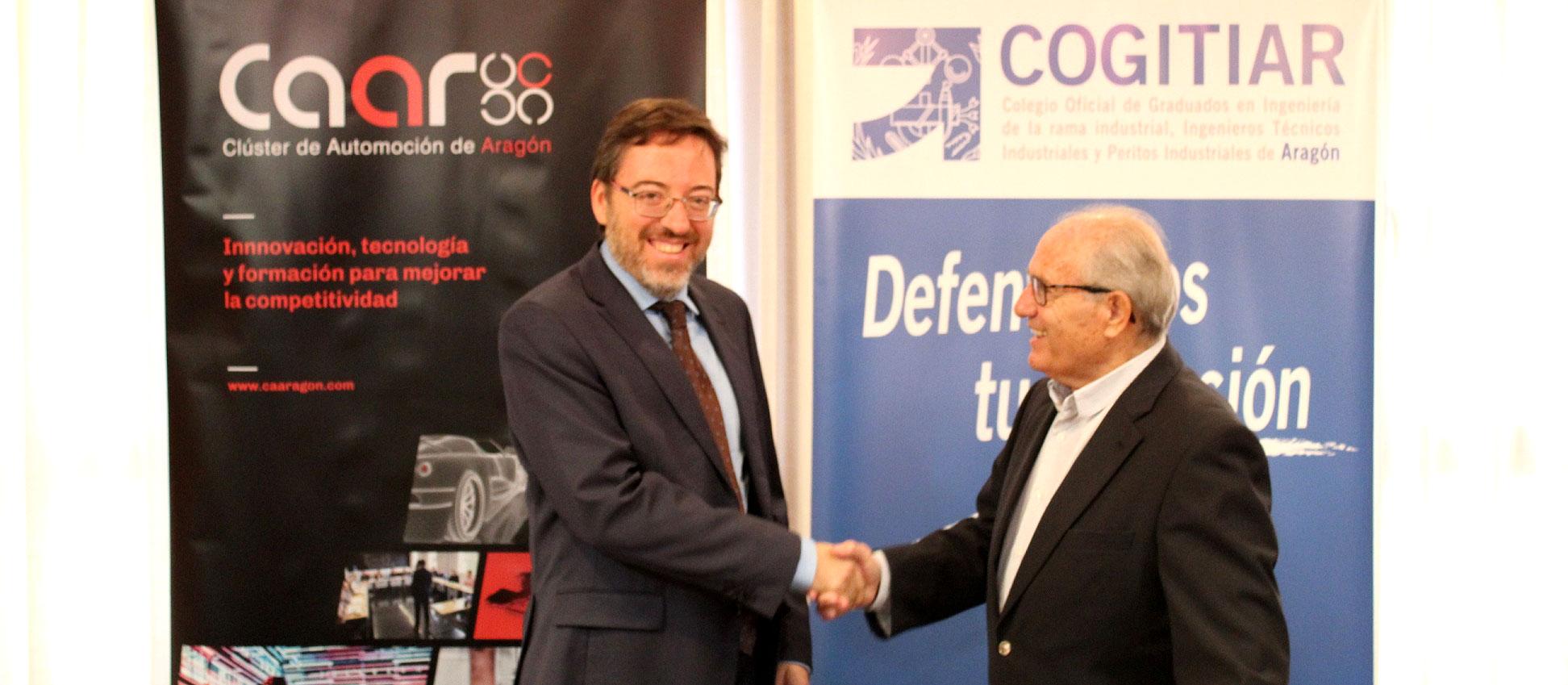 El COGITIAR y el Clúster de Automoción de Aragón firman un acuerdo de colaboración para fomentar el empleo, la formación y la comunicación entre sus socios