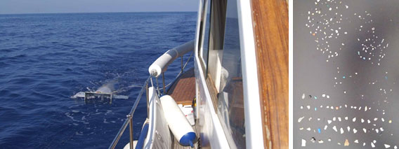La superficie del Mediterráneo alberga aproximadamente 1.455 toneladas de plástico