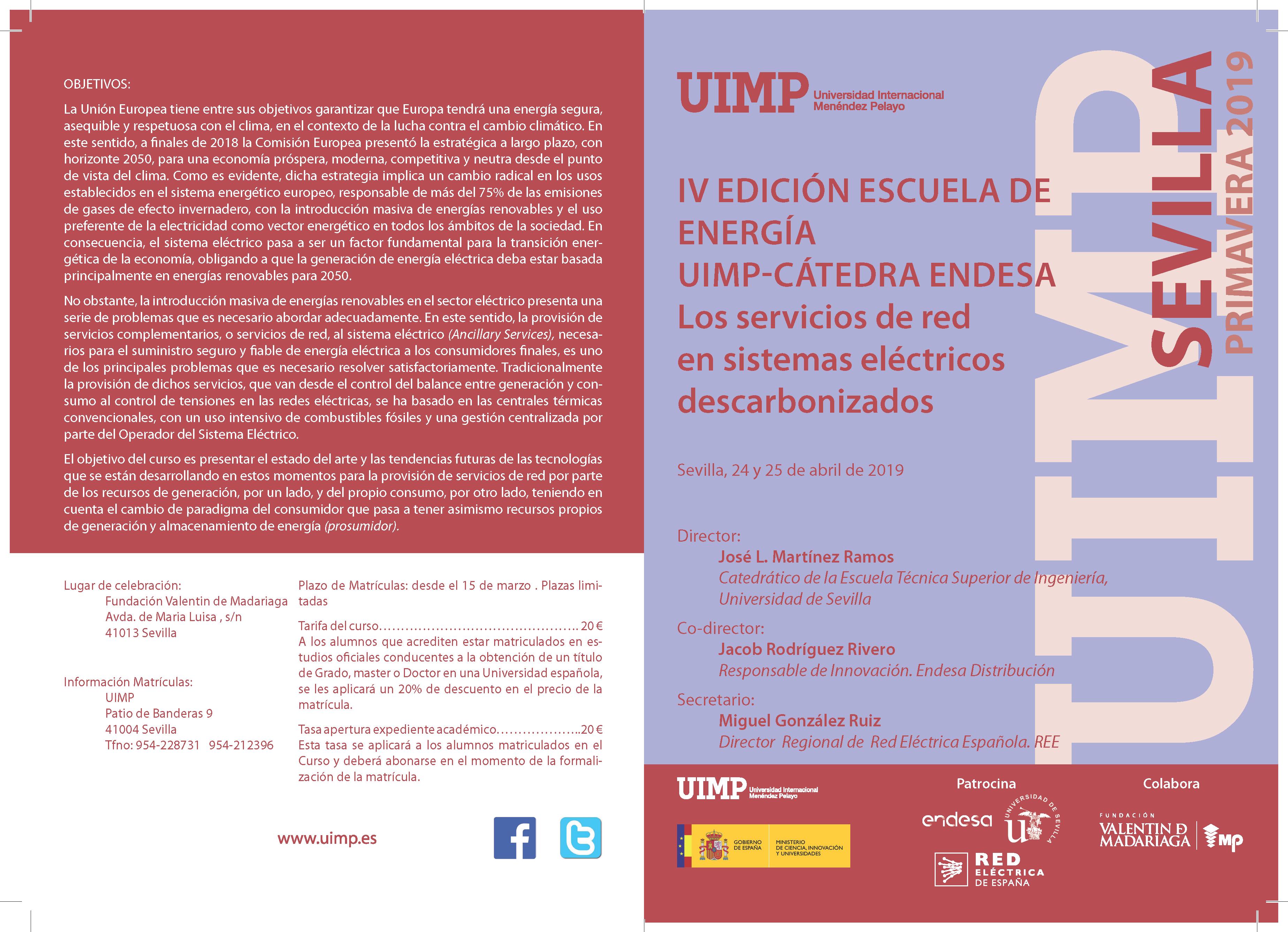 Sevilla UIMP-Catedra Endesa. Los servicios de red en sistemas electricos descarbonizados