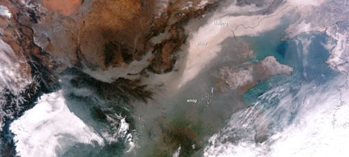 La contaminación atmosférica en China, visible desde el espacio