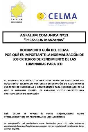 Documento de Necesidad normalización criterios rendimiento luminarias led