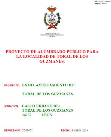 Documento de Proy alumbrado publico - Toral  Guzmanes