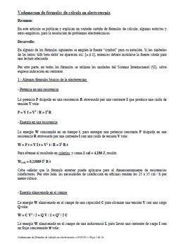 Documento de Vademecum de fórmulas de cálculo en electrotecnia